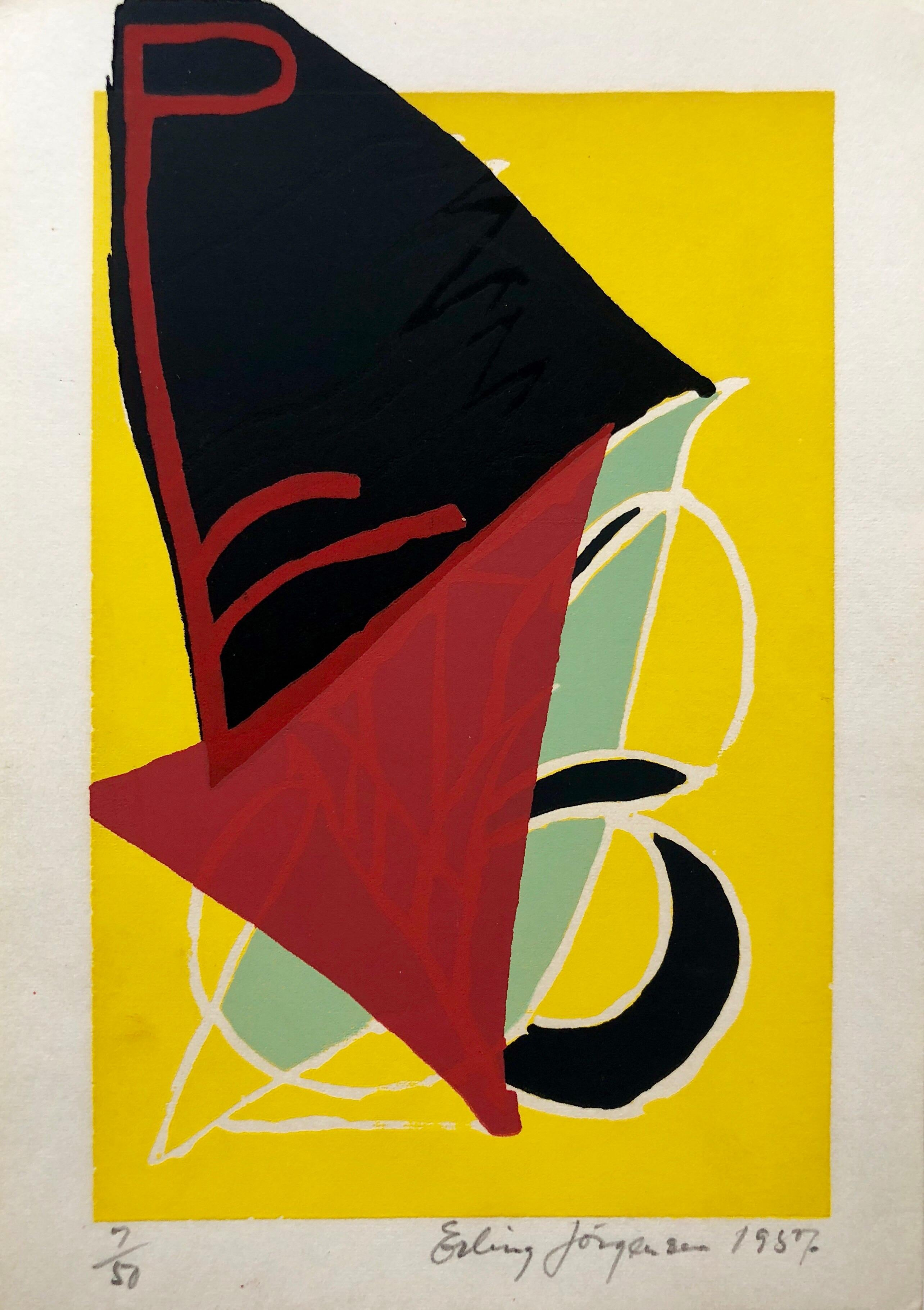 Cobra Artist 1950s Silkscreen Serigraph Bright Colorful Abstract Hand Signed