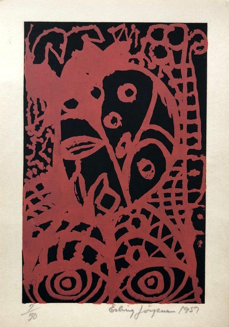 Erling Jorgensen Still-Life Print - Cobra Artist 1950s Silkscreen Serigraph Bright Colorful Abstract Hand Signed
