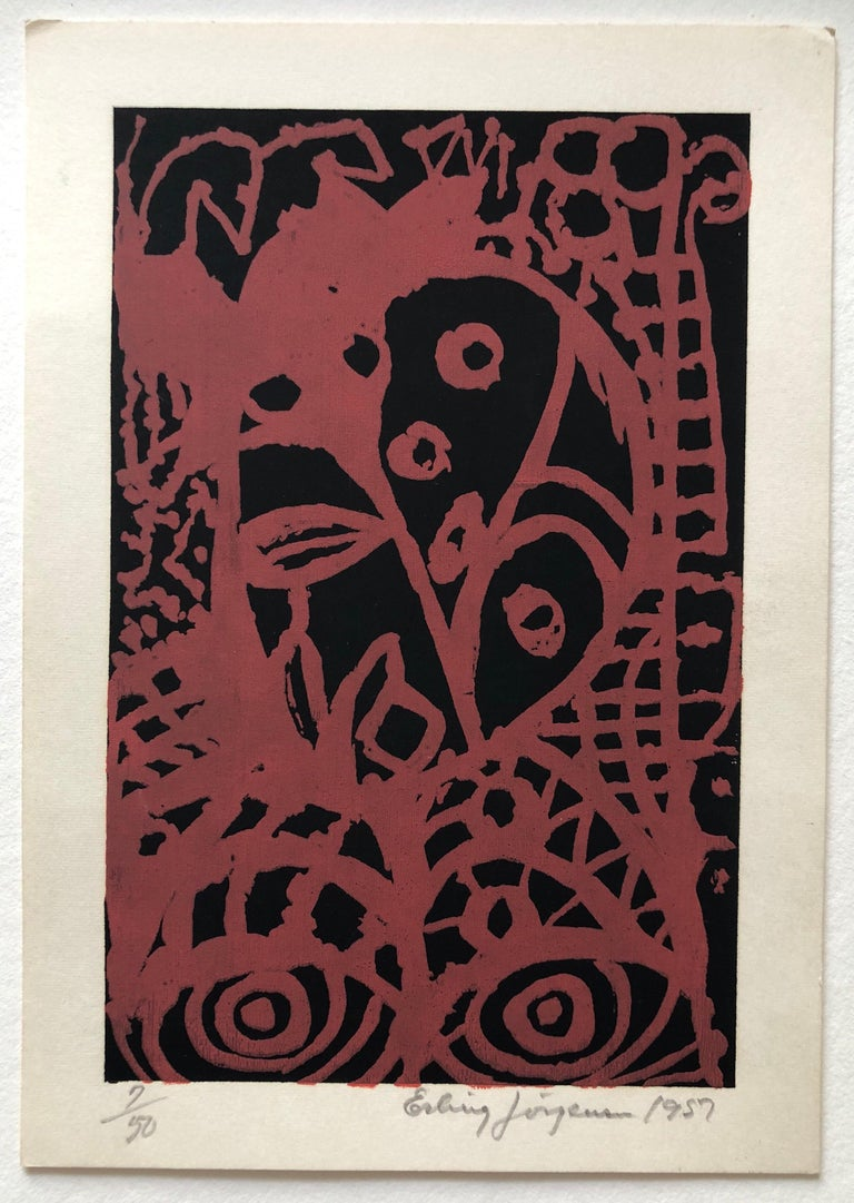 Small vintage hand signed and dated graphic. limited edition. Erling Jørgensen, 1905-1977 Born in Denmark, self taught artist. painter and graphic. print-maker. Danish painter and graphic artist. Jørgensen was autodidact and painted first in a