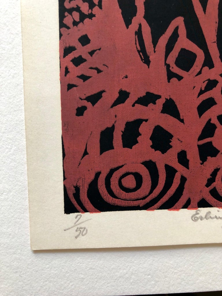 Cobra Artist 1950s Silkscreen Serigraph Bright Colorful Abstract Hand Signed - Abstract Expressionist Print by Erling Jorgensen