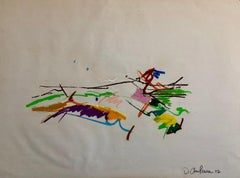 David Kimball Anderson Large Oil Stick Pastel Abstract Flowers Drawing