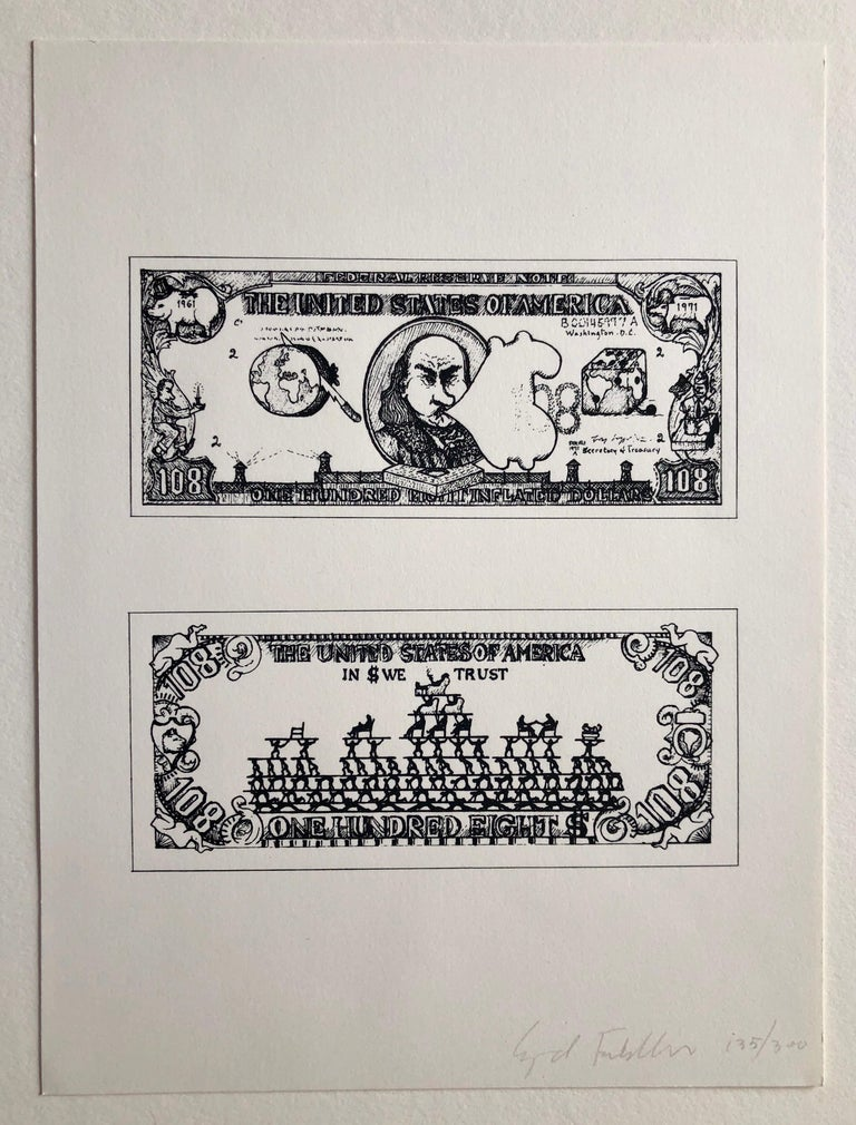 1960's Pop Art Silkscreen Print 108$ Bill Inflation Hand Signed and Numbered For Sale 2