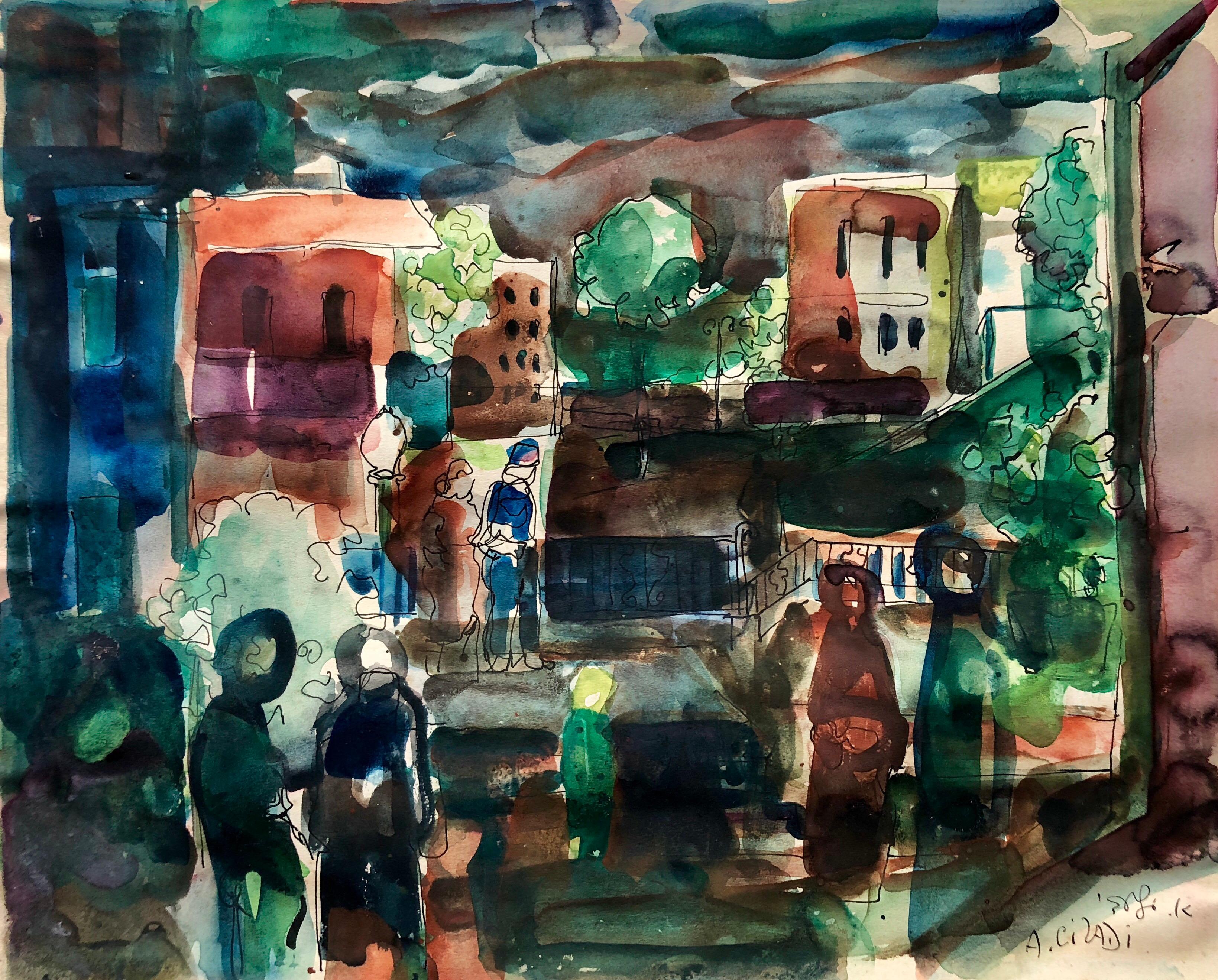 Old Yishuv, Israel, Watercolor Gouache Painting Israeli Modernist Kibbutz Artist