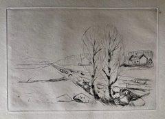 Edvard Munch 1908 Norwegische Landschaft, Norwegian Landscape Drypoint Etching