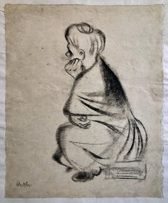 "Charcoal Drawing ""Waiting"" Pensive Woman Americana WPA Artist"