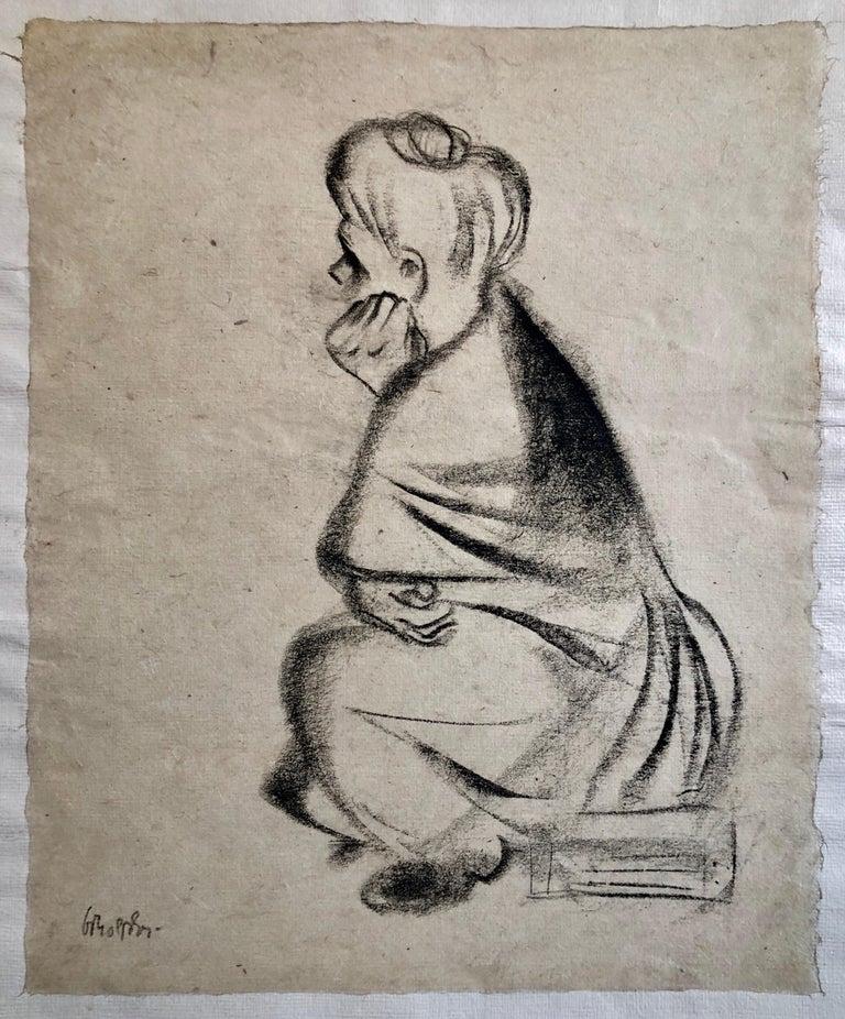 "William Gropper Portrait - Charcoal Drawing ""Waiting"" Pensive Woman Americana WPA Artist"
