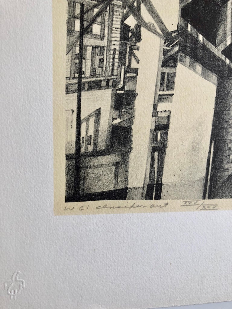 Chicago Scene Modernist Architectural Lithograph, Nevada Artist - American Modern Print by JIm McCormick