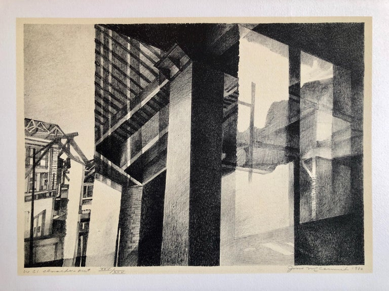 Chicago Scene Modernist Architectural Lithograph, Nevada Artist - Print by JIm McCormick