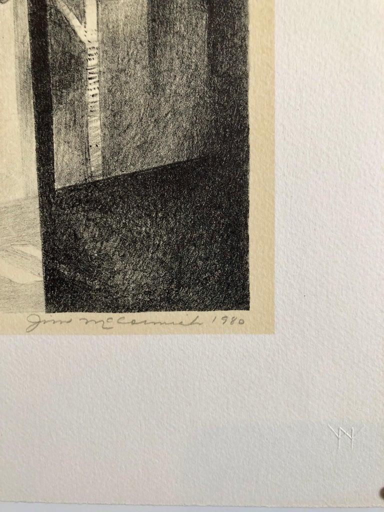 Chicago Scene Modernist Architectural Lithograph, Nevada Artist - Brown Interior Print by JIm McCormick