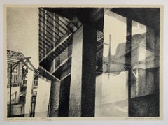 Chicago Scene Modernist Architectural Lithograph, Nevada Artist