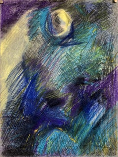 Abstract Expressionist Blue Pastel Drawing Mid Century Modern WPA Jewish Artist
