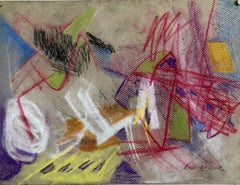 Abstract Expressionist Color Pastel Drawing Mid Century Modern WPA Jewish Artist