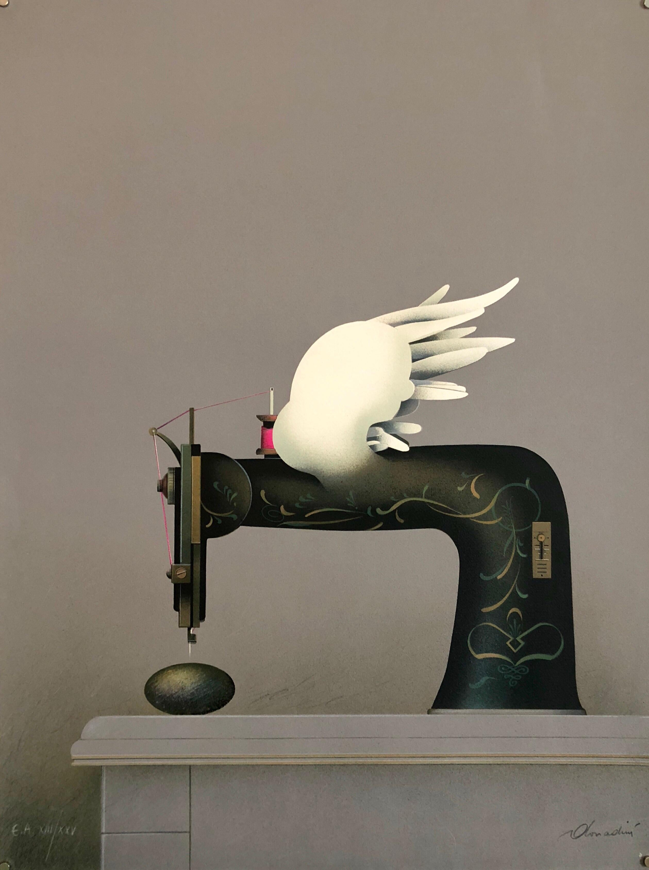 French Surrealist Trompe L'oeil Still Life Lithograph of Sewing Machine Feathers