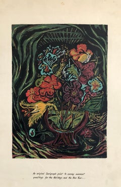 New Years Greeting Vintage Floral 1945 Serigraph Silkscreen Print WPA Artist