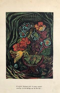 New Years Greeting Vintage Floral 1945 Serigraph Silkscreen Print WPA Artist