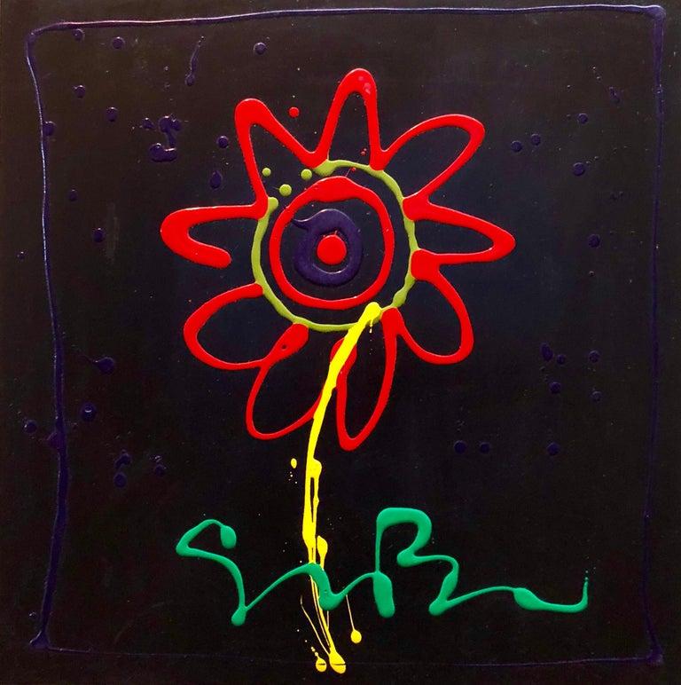Vibrant Day Glo Pop Art Flower Original Simon Bull Floral Painting - Black Figurative Painting by Simon Bull