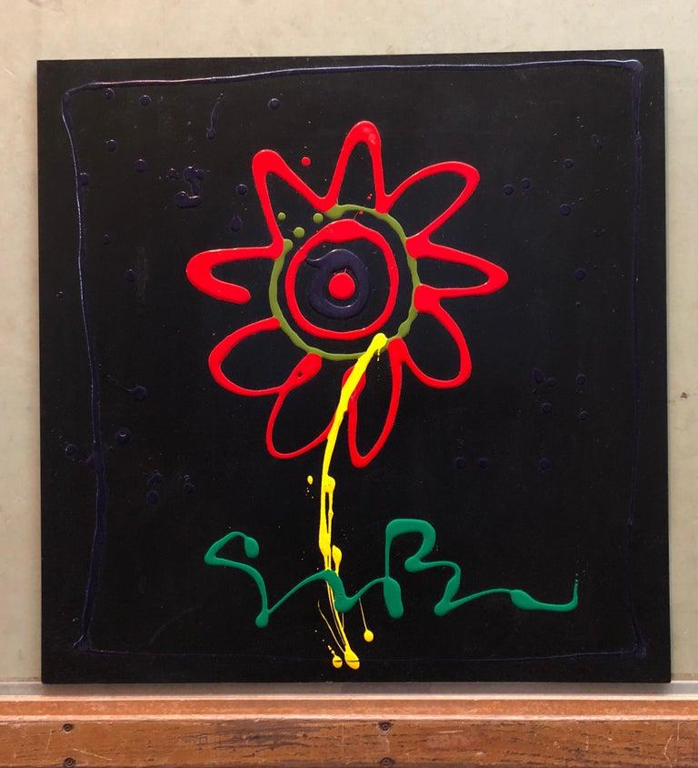 Vibrant Day Glo Pop Art Flower Original Simon Bull Floral Painting 7