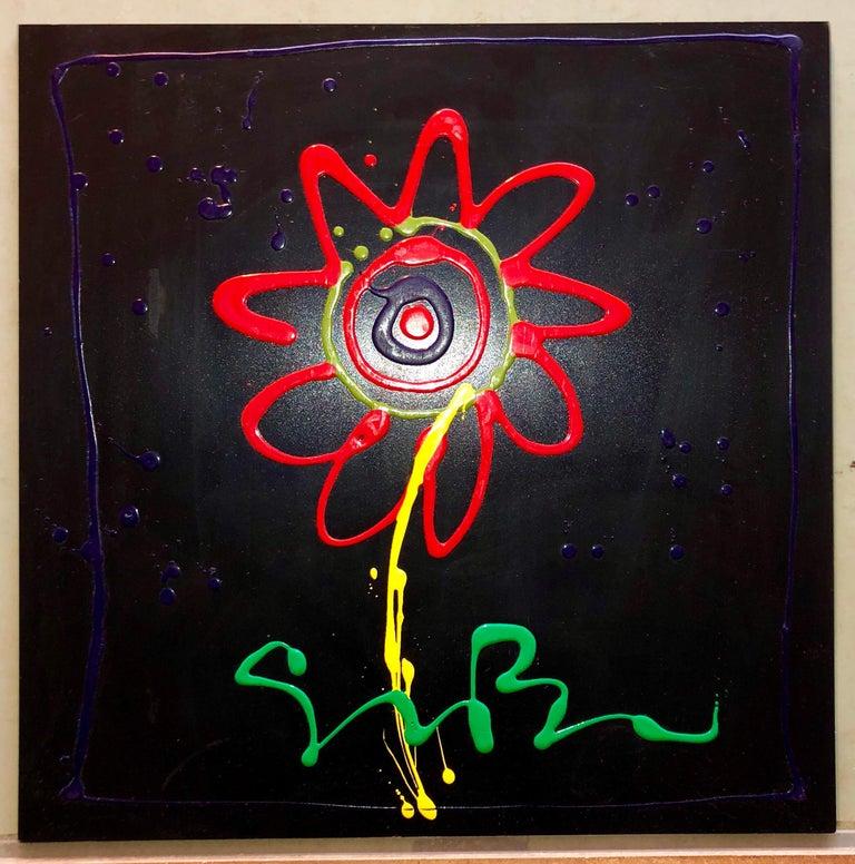 Vibrant Day Glo Pop Art Flower Original Simon Bull Floral Painting 1