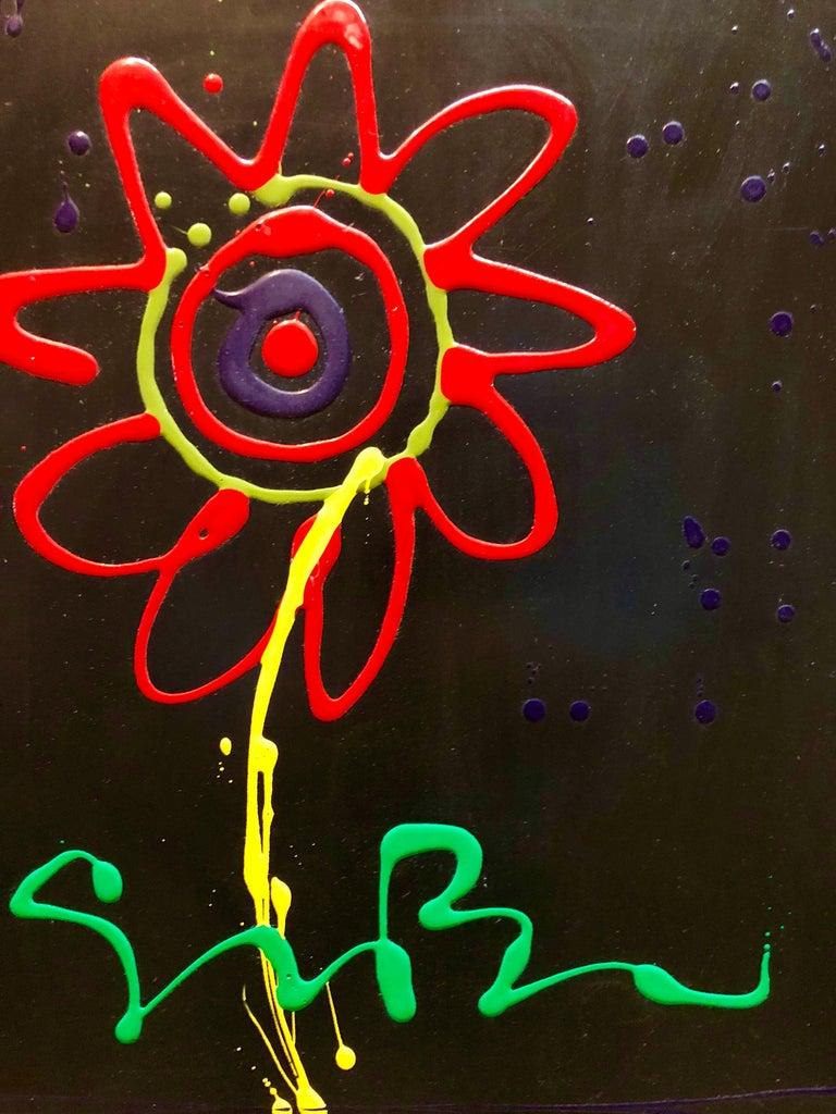 Vibrant Day Glo Pop Art Flower Original Simon Bull Floral Painting 2