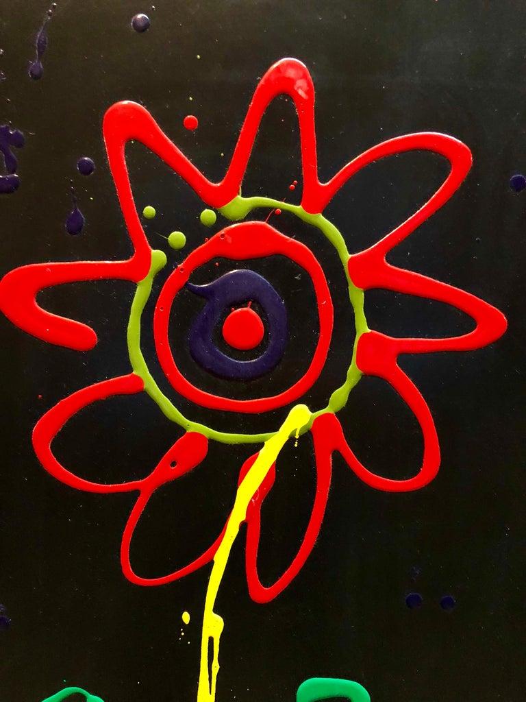 Vibrant Day Glo Pop Art Flower Original Simon Bull Floral Painting 3