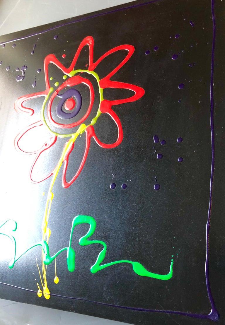Vibrant Day Glo Pop Art Flower Original Simon Bull Floral Painting 5