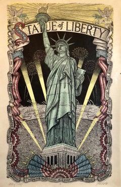 Original Woodcut Print Statue of Liberty Centennial Color Woodblock Signed LtdEd