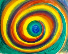 Abstract Bold Colorful Vortex Watercolor Gouache Painting Divine Eye WPA Artist