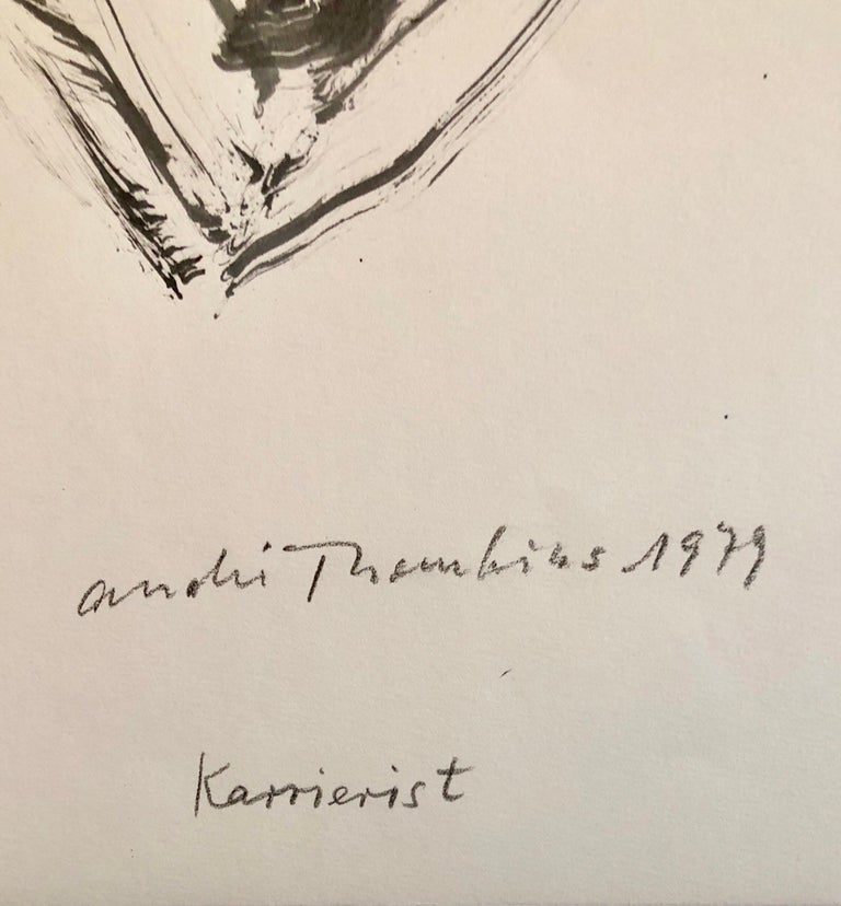 70s Modernist Swiss Dada Surrealist Painting Signed Andre Thomkins Brush Drawing - Art by André Thomkins