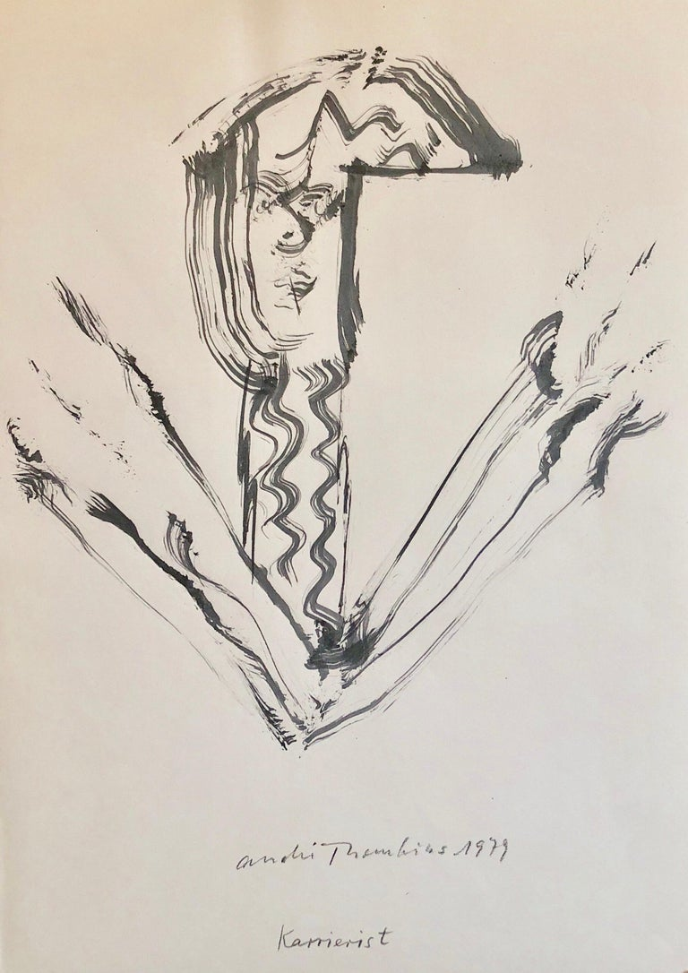 André Thomkins Figurative Art - 70s Modernist Swiss Dada Surrealist Painting Signed Andre Thomkins Brush Drawing