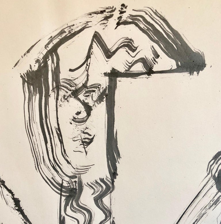 70s Modernist Swiss Dada Surrealist Painting Signed Andre Thomkins Brush Drawing - Beige Figurative Art by André Thomkins