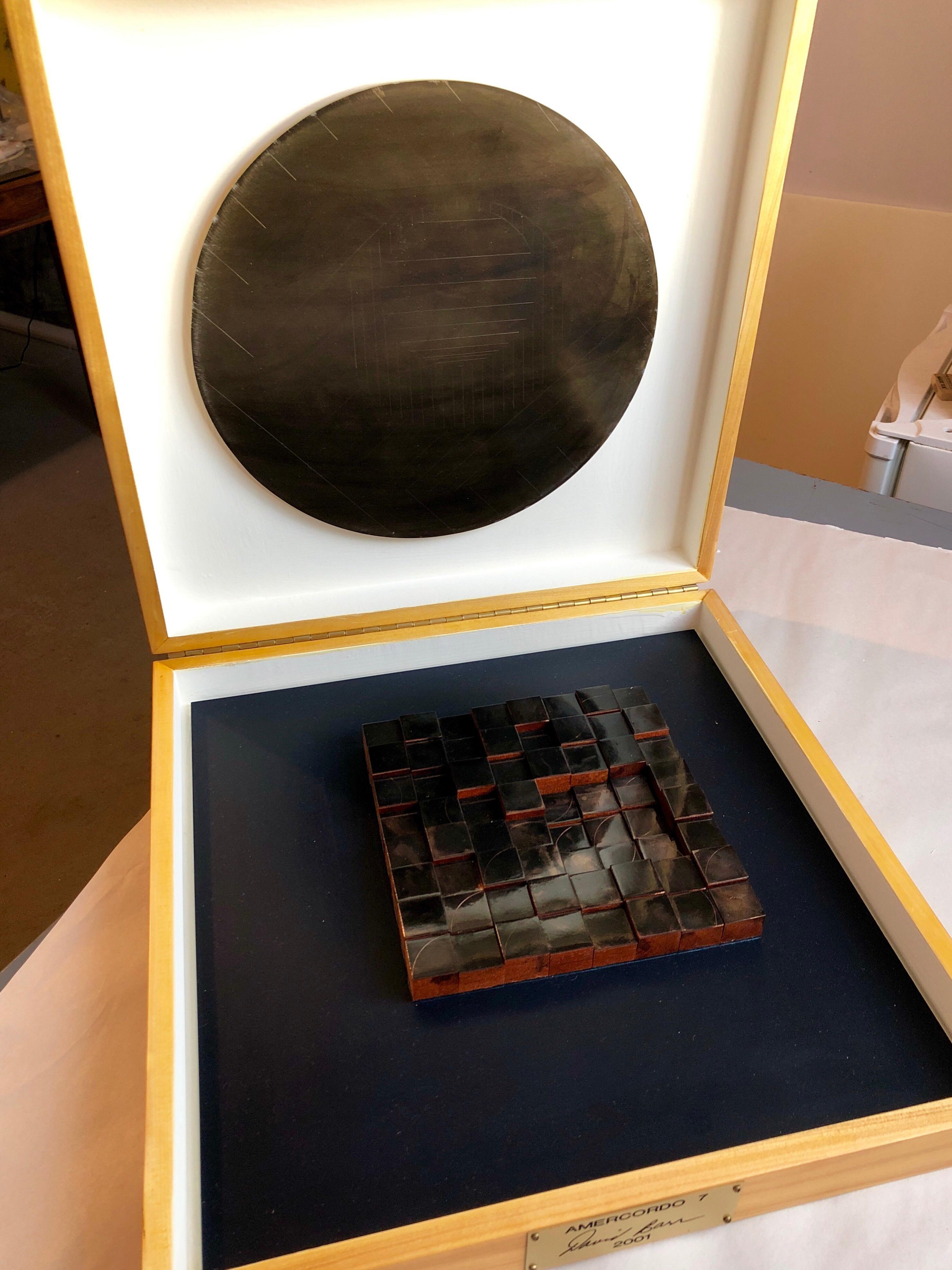 Modernist Detroit Table Sculpture Wood Collage Box Assemblage Americordo Copper