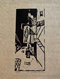 1936 Woodblock Print Venus of 23rd St. Skid Row Woodcut NYC Great Depression WPA