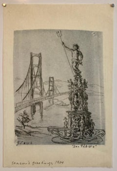 San Tubisco (Season's Greetings) Holiday Drawing Artwork Poseidon Trident Bridge