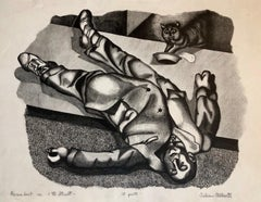 Recumbent on 11th st. NYC Drunk 1930's Social Realist Lithograph