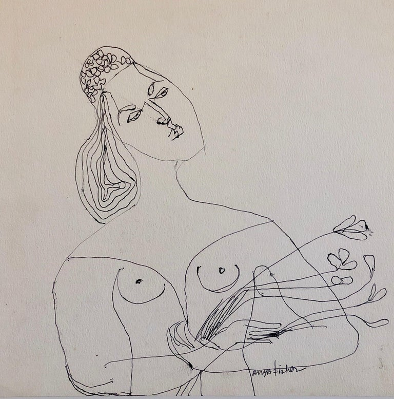 Female Nude Drawing Los Angeles Modernist Woman with Flowers - Art by Anya Fisher