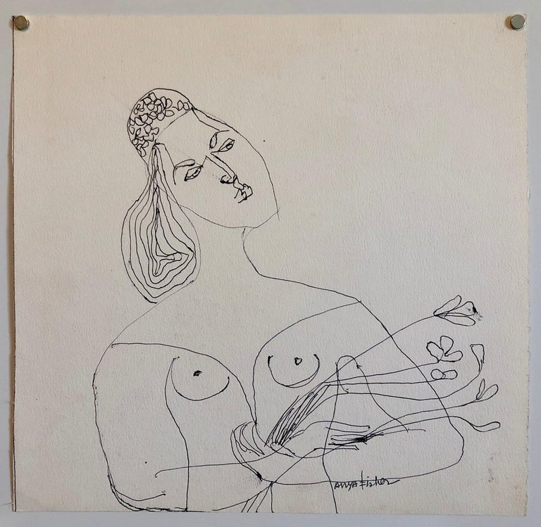 Female Nude Drawing Los Angeles Modernist Woman with Flowers 2