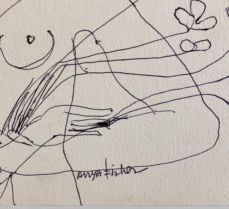Female Nude Drawing Los Angeles Modernist Woman with Flowers - American Modern Art by Anya Fisher