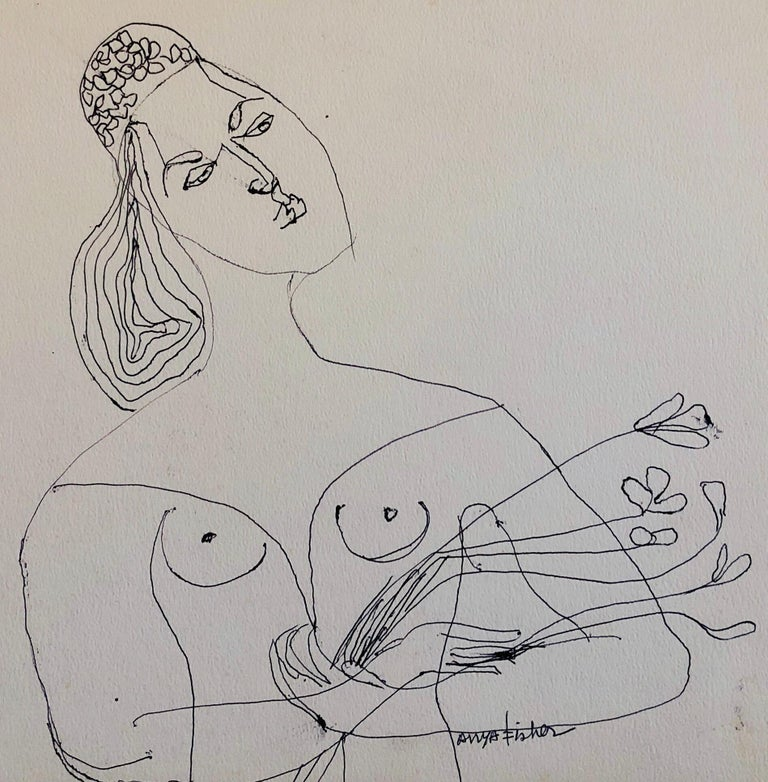 Female Nude Drawing Los Angeles Modernist Woman with Flowers 1