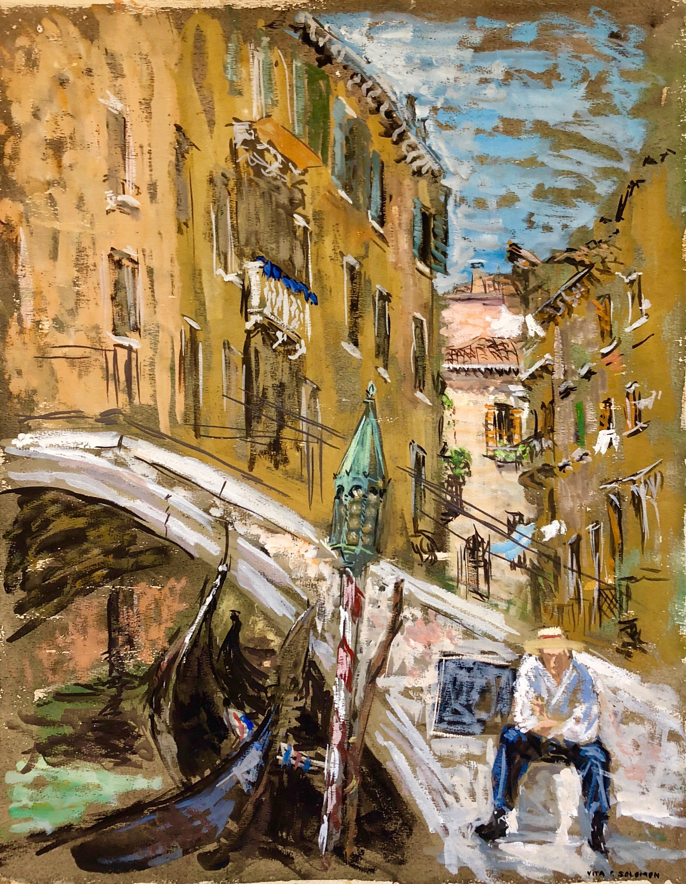 Venice Italy Landscape Gouache Painting Canal with Gondolier Bridge of Sighs