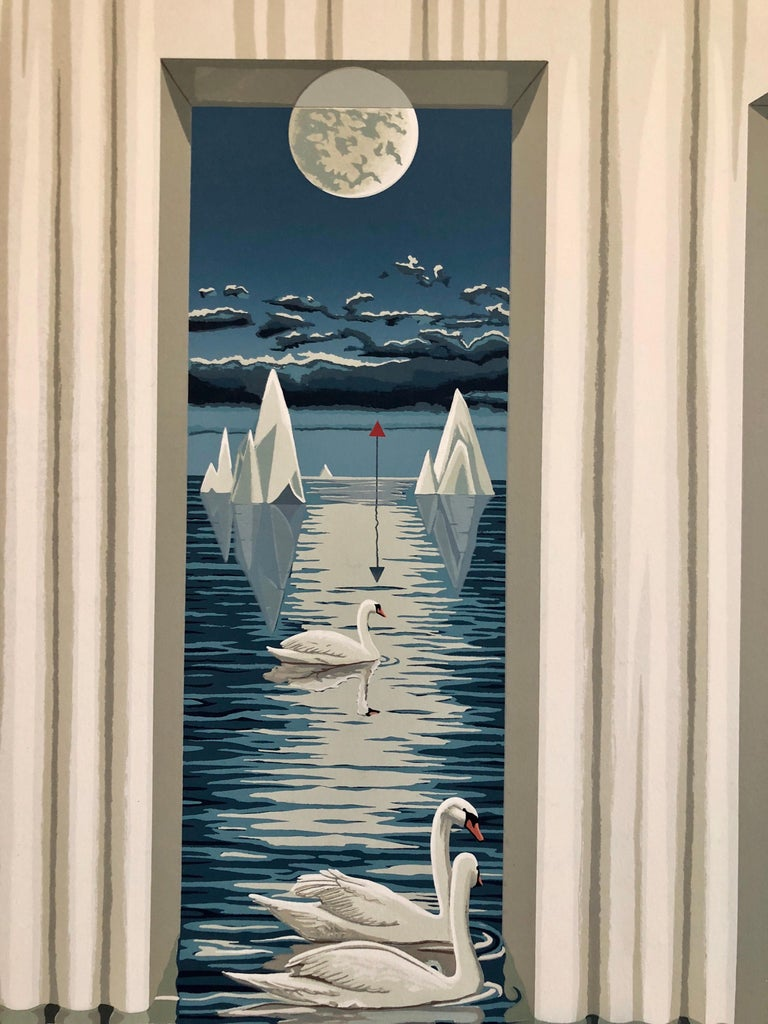 Large Surrealist Photo Realist Silkscreen Lithograph Print Swan Dreams For Sale 2