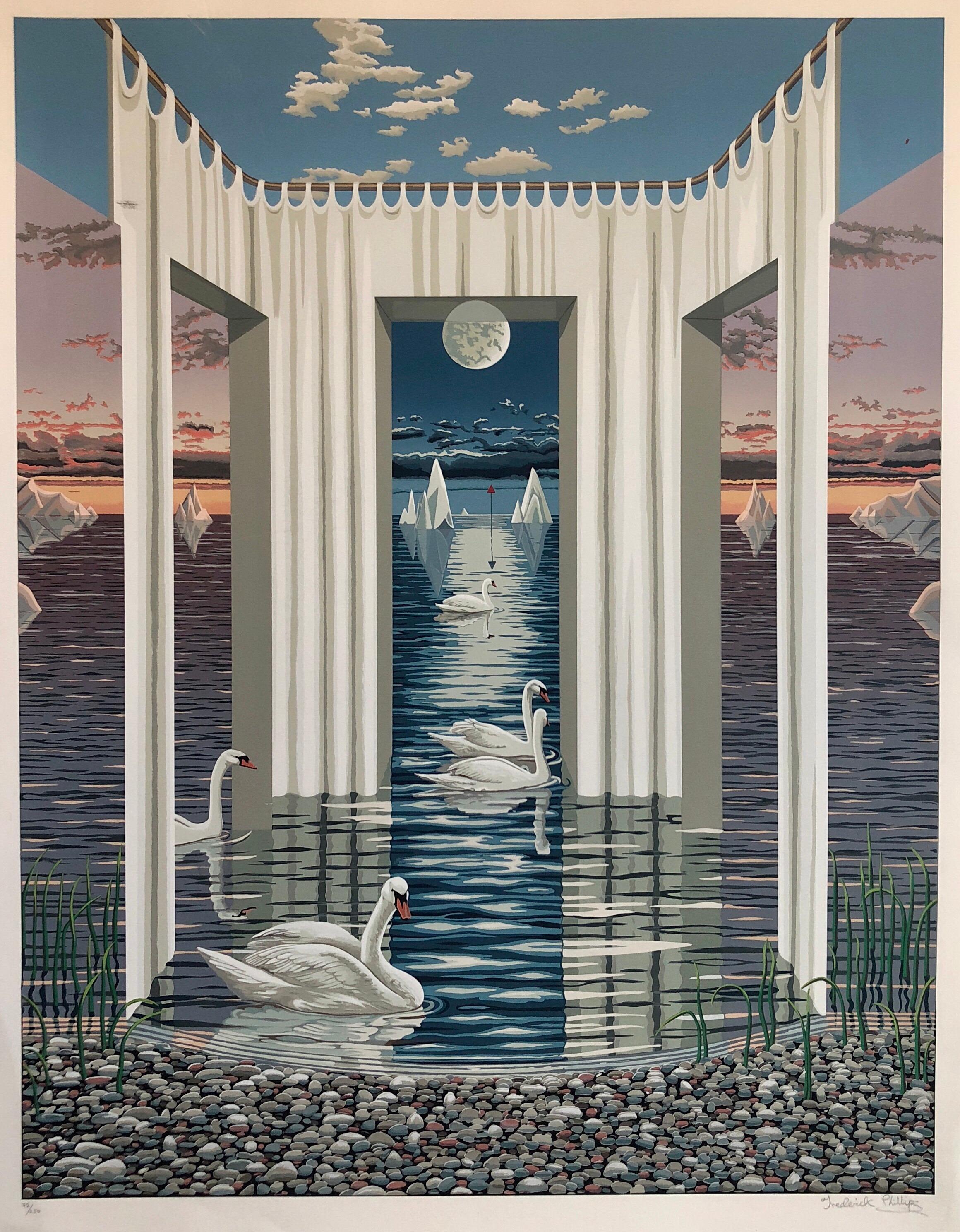 Large Surrealist Photo Realist Silkscreen Lithograph Print Swan Dreams