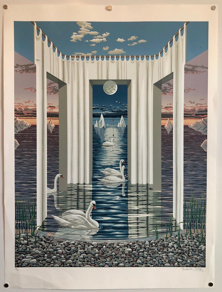 Large Surrealist Photo Realist Silkscreen Lithograph Print Swan Dreams For Sale 3