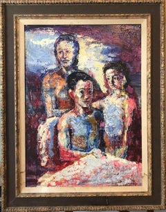 Family Portrait, Large Surrealist Oil Painting Mother, Children, Neo Surrealism
