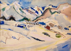 Swiss Alps Modernist Mountain Landscape 1944 Watercolor Painting Switzerland