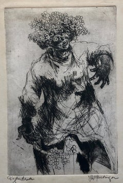 Dutch Fantastic Modern Etching, Jan Mensinga Old Master Style Wine Maker, Grapes