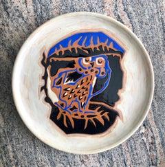 Vintage French Modernist Jean Lurcat Glazed Ceramic Plate Ceramique Sant Vicens