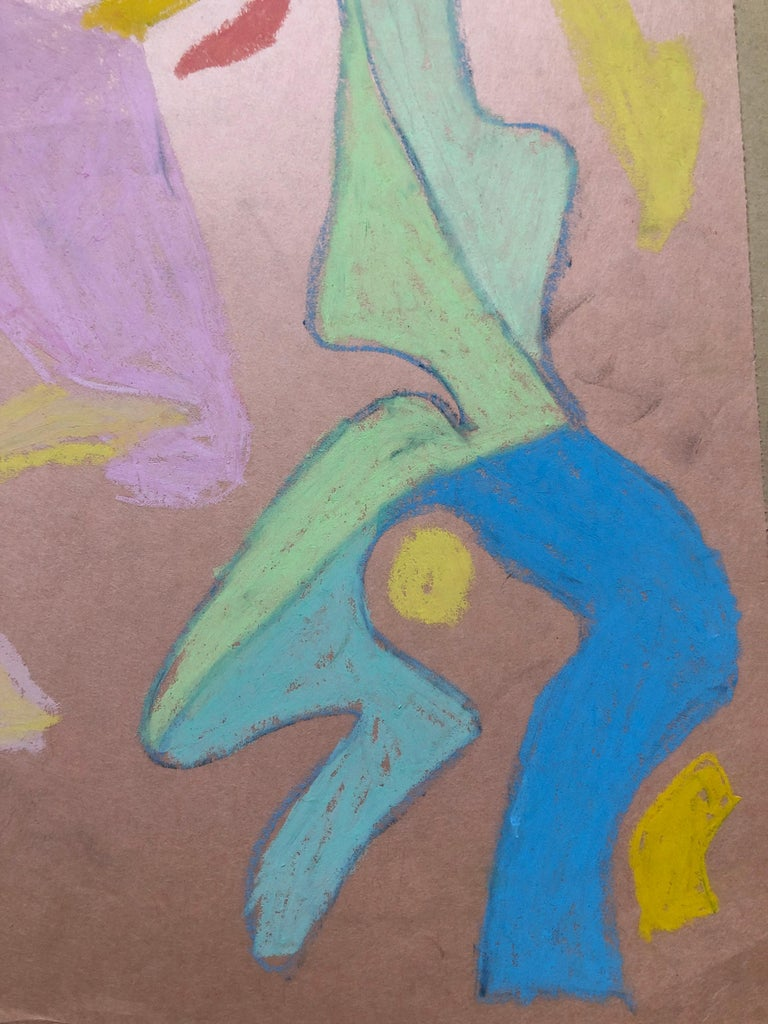 Abstract Figures Pastel Drawing Los Angeles Woman Modernist Anya Fisher - Gray Abstract Drawing by Anya Fisher