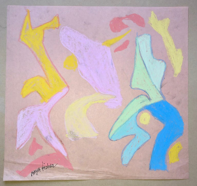 Abstract Figures Pastel Drawing Los Angeles Woman Modernist Anya Fisher - Art by Anya Fisher