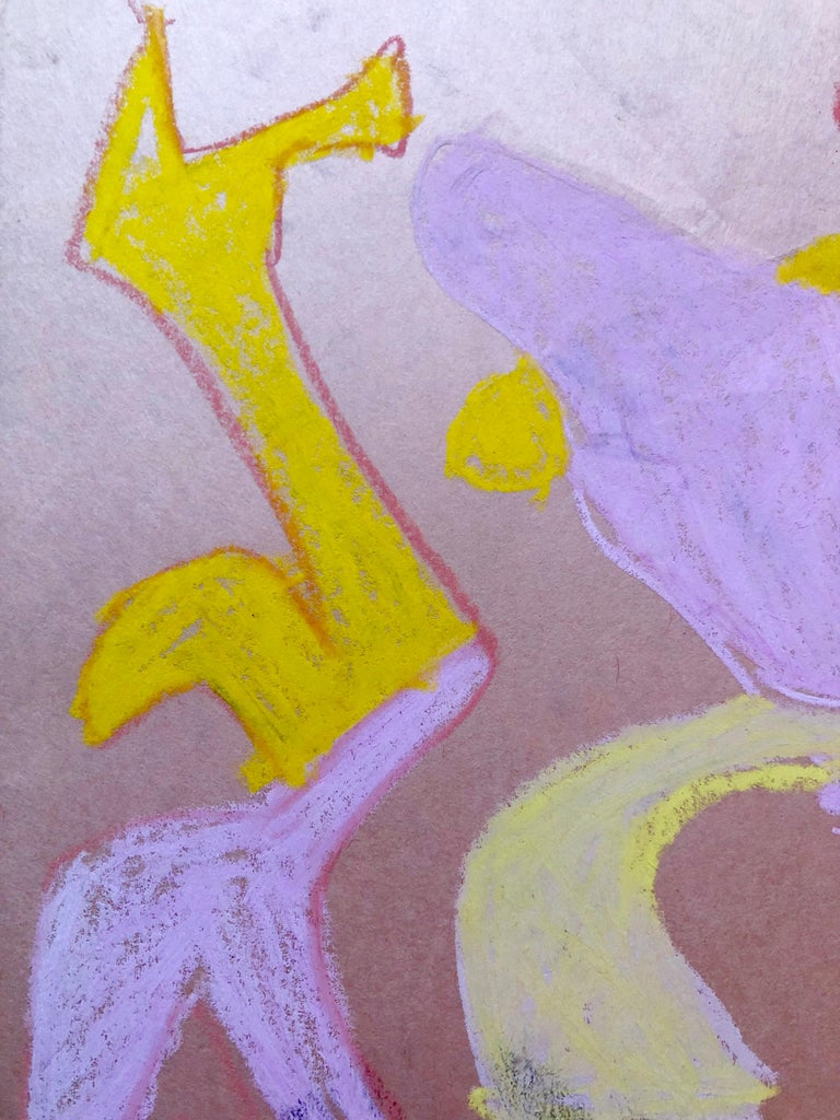 Abstract Figures Pastel Drawing Los Angeles Woman Modernist Anya Fisher For Sale 1