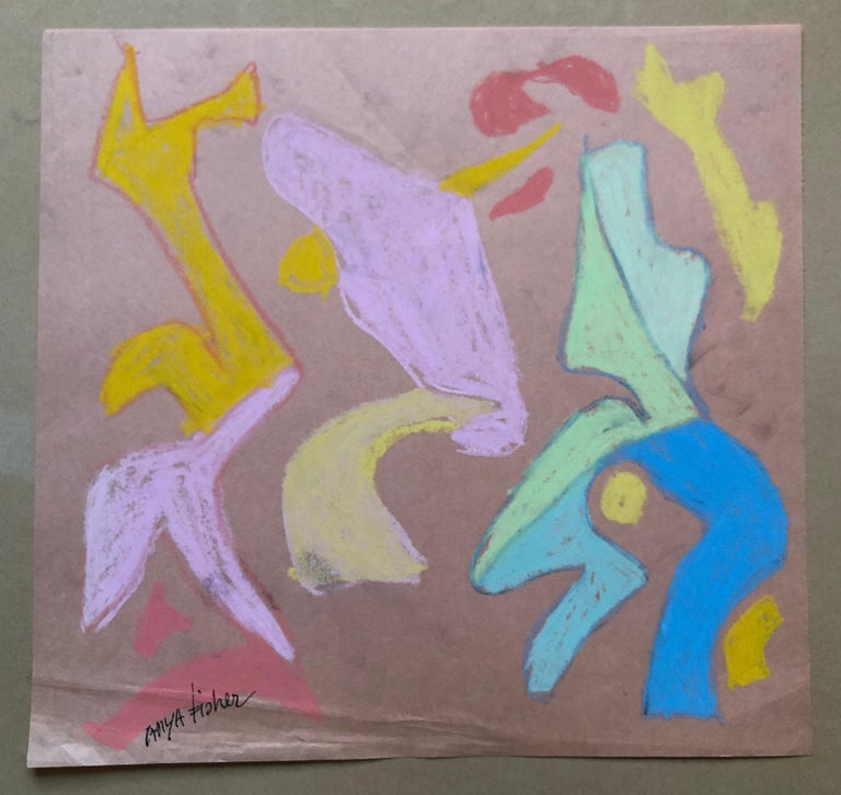 Abstract Figures Pastel Drawing Los Angeles Woman Modernist Anya Fisher For Sale 3